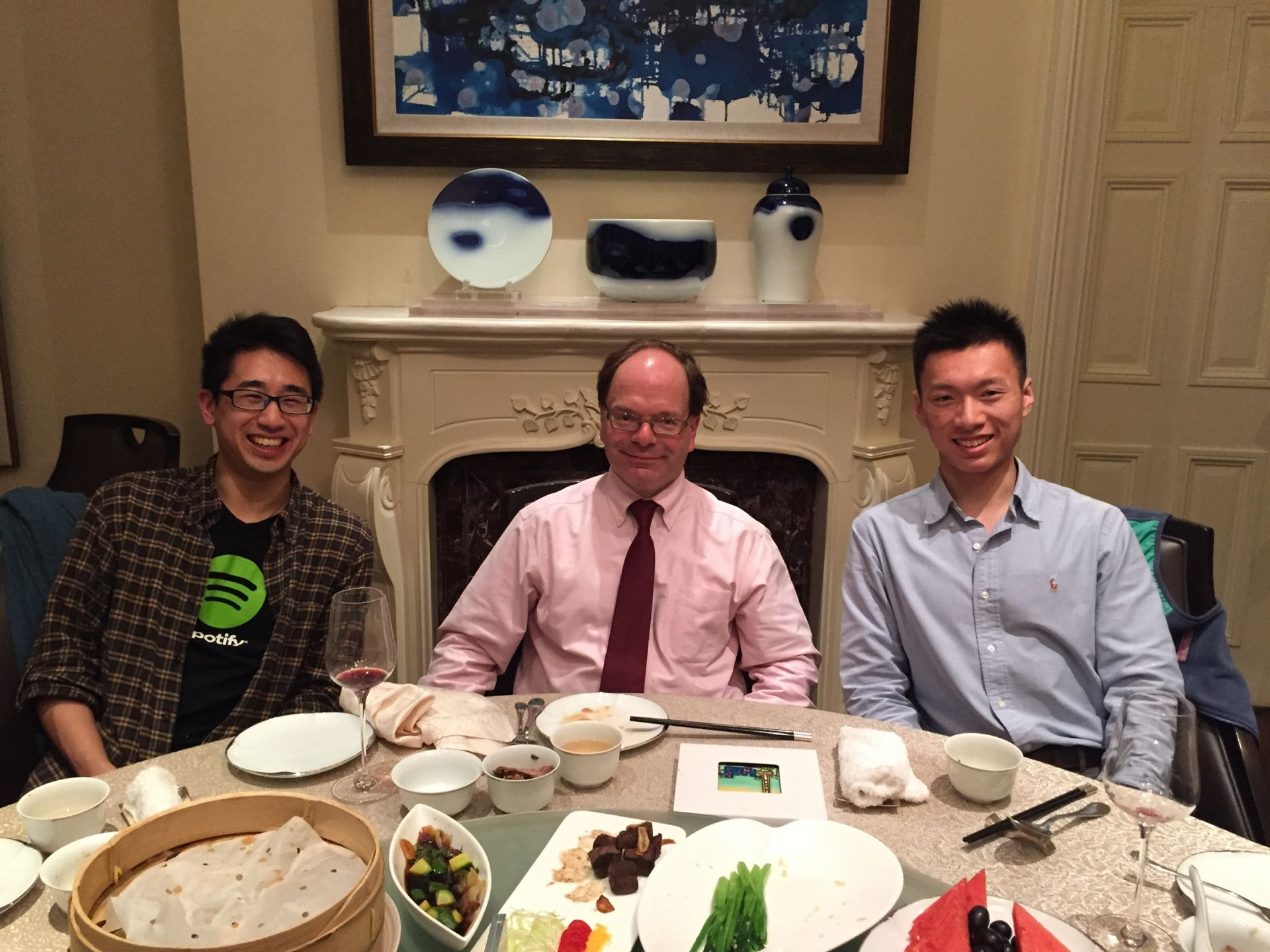 While spending the spring term teaching in Shanghai, Teacher Andrew Caglieris caught up with Stanton Wong '07 and Harry Zhang '14 for dinner