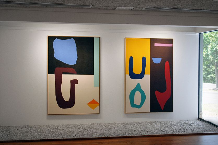 "In her exhibition ""Sun Salutation,"" Alex Ebstein's arrangements of beaming color and hovering forms evoke pure modernist abstract painting. Close attention to the material facts of these canvases opens the door to a conceptual twist, however; the works are composed of carefully dissected and reassembled yoga mats."