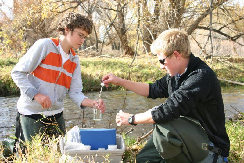 With a 107-acre classroom, learning can take place just about anywhere, including a creek where Earth Science comes to life.